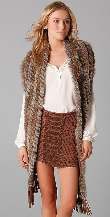 Haute Hippie Rabbit Trim Convertible Vest