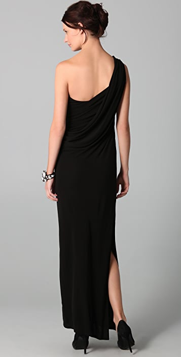 Haute Hippie One Shoulder Shirred Gown