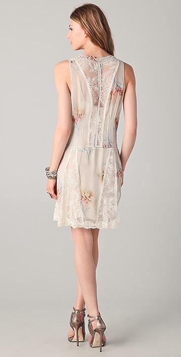 Haute Hippie Pleated Floral & Lace Dress