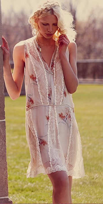 Haute Hippie Pleated Floral & Lace Dress