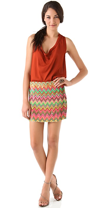 Haute Hippie Chevron Sequined Miniskirt
