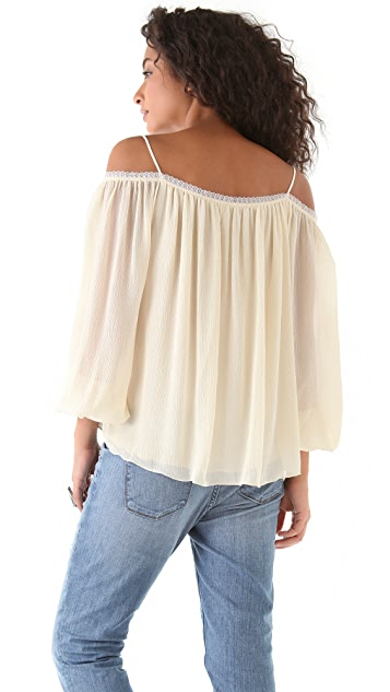 Haute Hippie Open Shoulder Blouse