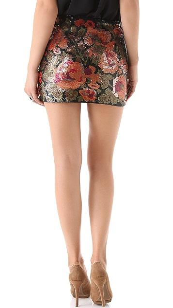 Haute Hippie Floral Sequined Miniskirt