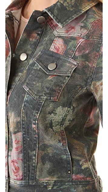 Haute Hippie Washed Floral Denim Jacket