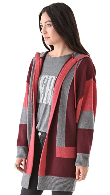 Haute Hippie Hooded Vertical Stripe Cardigan