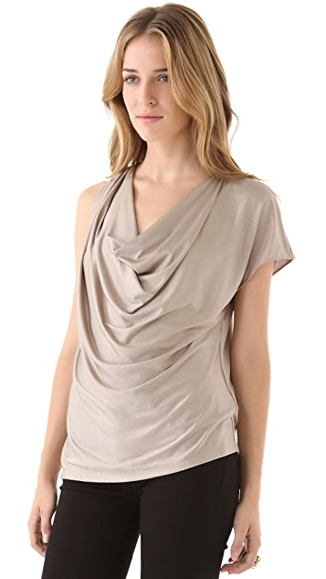 Haute Hippie Cowl Top with Short Sleeves
