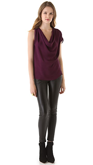 Haute Hippie Asymmetrical Cowl Top