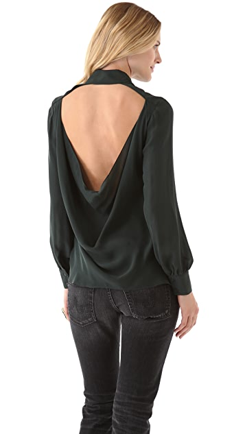 Haute Hippie Open Back Cowl Blouse