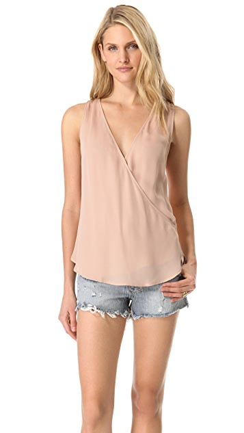 Haute Hippie Gathered Shoulder Crossover Top