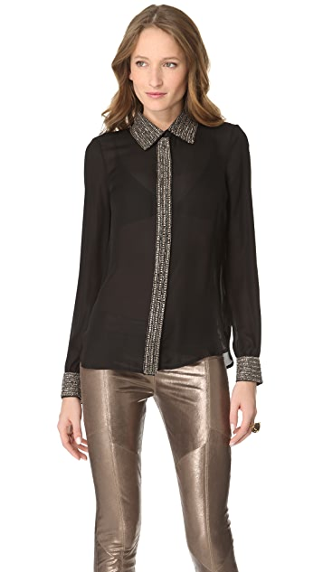 Haute Hippie Embellished Collar Blouse