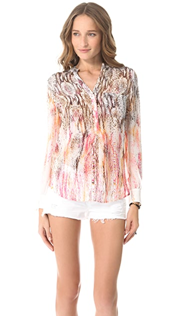 Haute Hippie Henley Printed Blouse
