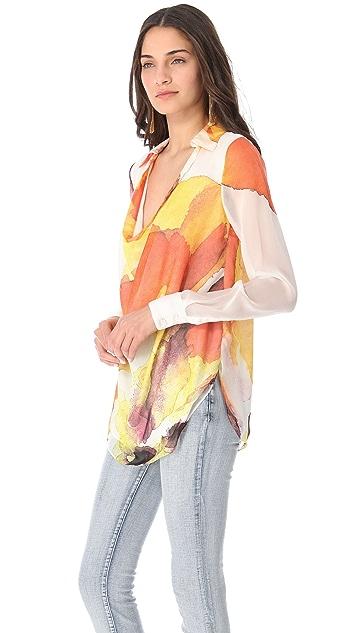 Haute Hippie Print Cowl Neck Blouse