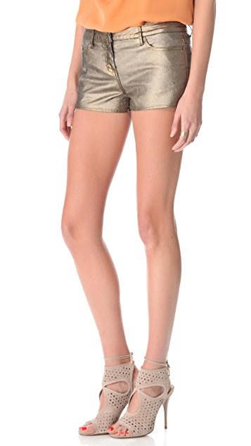 Haute Hippie Metallic Coated Shorts