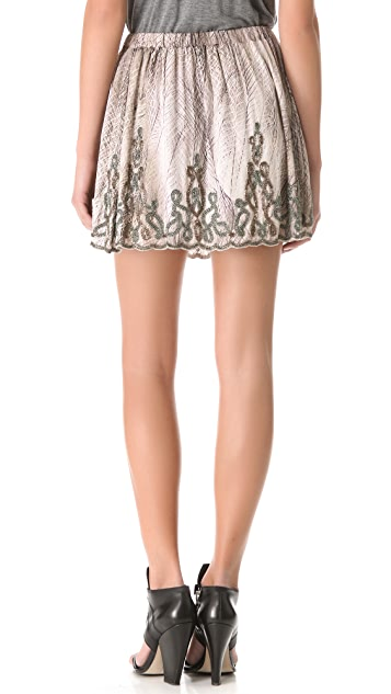 Haute Hippie Embellished Mini Skirt