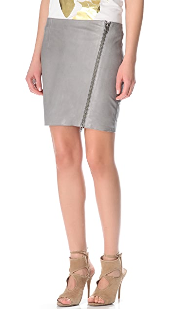 Haute Hippie Asymmetrical Leather Skirt