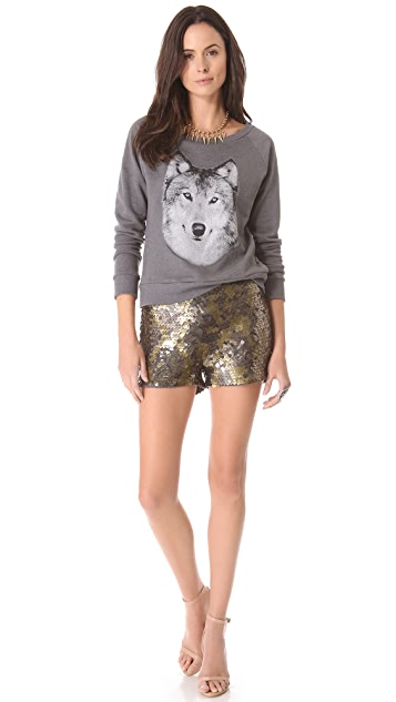 Haute Hippie Square Sequin Shorts