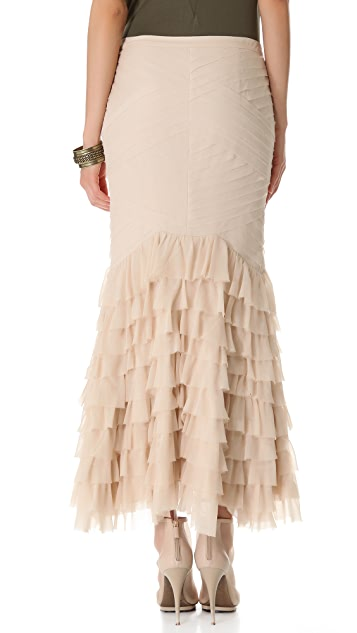Haute Hippie Torn Chiffon Diamond Maxi Skirt