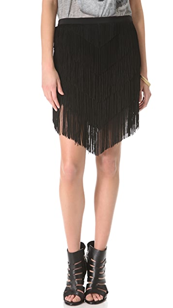 Haute Hippie Fringe Mini Skirt