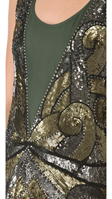 Haute Hippie Swirled Embellished Tank Dress