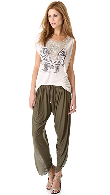 Haute Hippie Embellished Tiger Tee