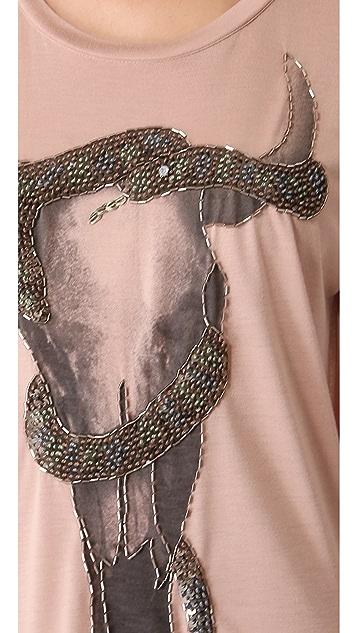 Haute Hippie Embellished Longhorn & Snake Tee