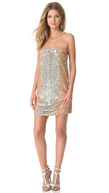 Haute Hippie Python Sequin Strapless Dress