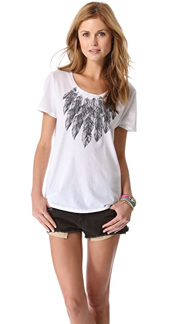 Haute Hippie Feather Collar Tee