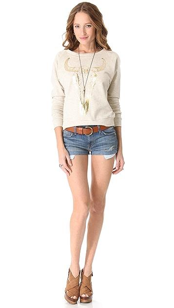Haute Hippie Gold Long Horn Sweatshirt