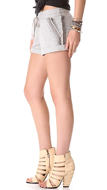 Haute Hippie Embellished Terry Rolled Shorts