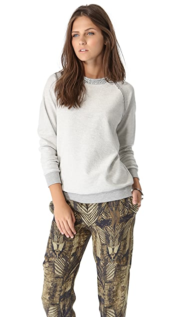 Haute Hippie Crystal Herringbone Sweatshirt