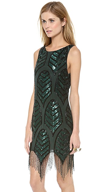 Haute hippie embellished cocktail dress emerald black