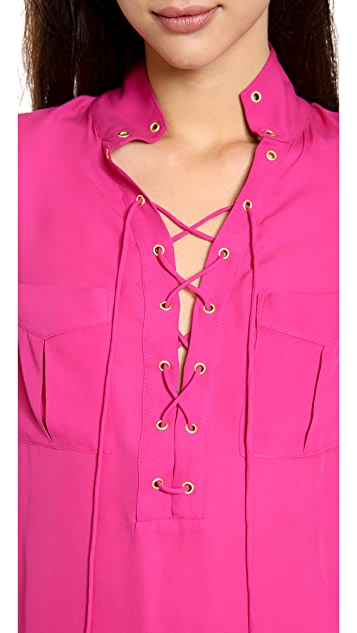 Haute Hippie Lace Up Blouse