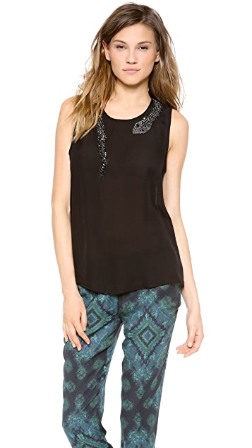 Haute Hippie Muscle Tank with Beaded Snake