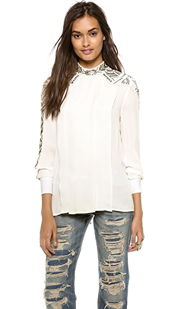 Haute Hippie Pleated Embellished Blouse