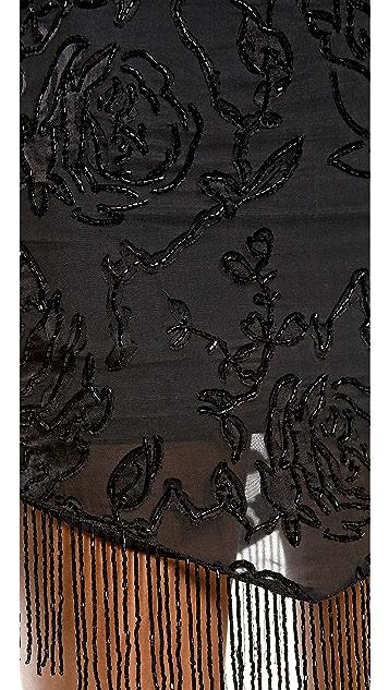 Haute Hippie Embellished Burnout Skirt