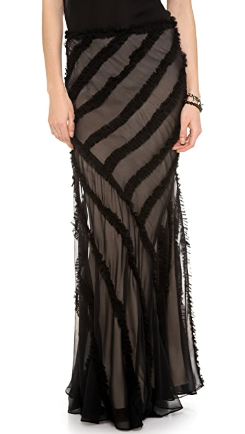 Haute Hippie Gathered Strip Maxi Skirt