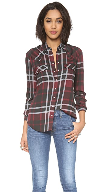 Haute Hippie Jillian Plaid Basic Western Shirt