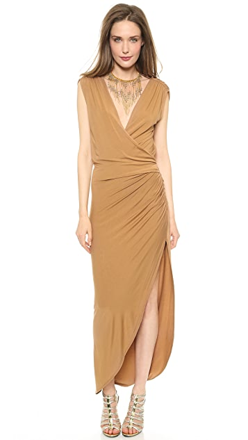 Haute Hippie Asymmetrical Gathered Maxi Dress