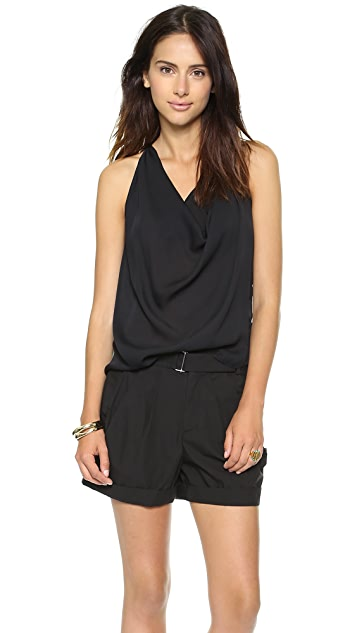 Haute Hippie Emebellished High Low Blouse