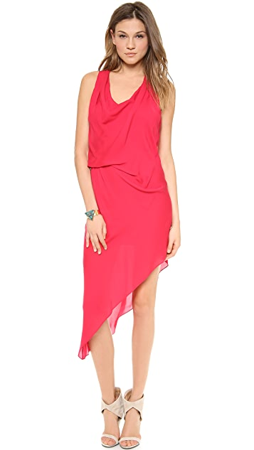 Haute Hippie Asymmetrical Side Tuck Dress