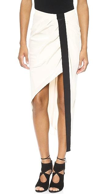 Haute Hippie Asymmetrical Skirt with Tux Stripe
