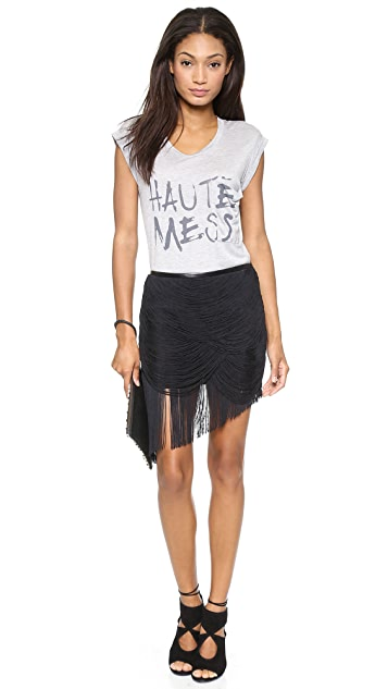 Haute Hippie Trapped Fringe Skirt