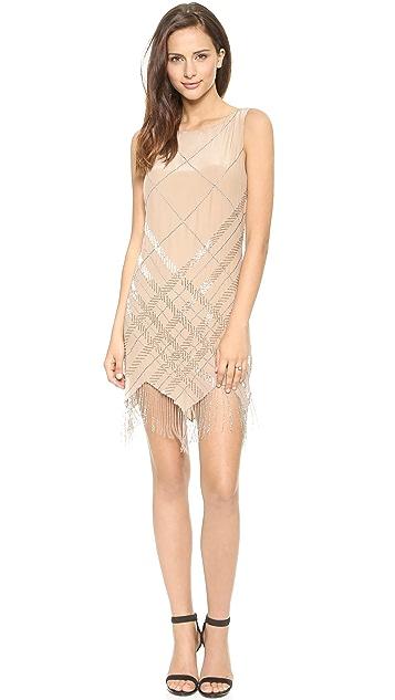 Haute Hippie Embellished Argyle Dress with Fringe