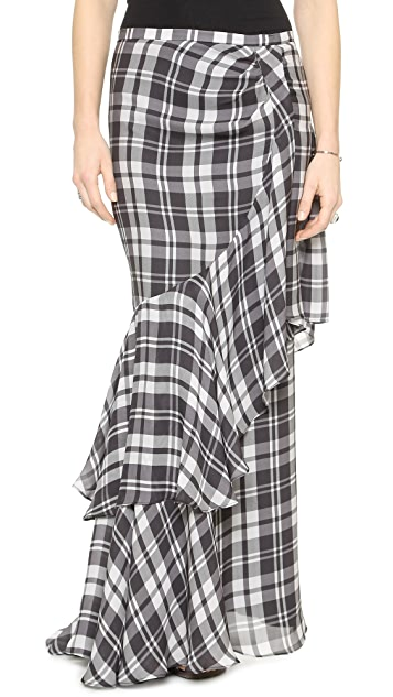 Haute Hippie Plaid Side Tuck Maxi Skirt