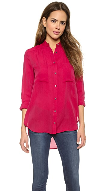 Haute Hippie Draped Button Down Blouse