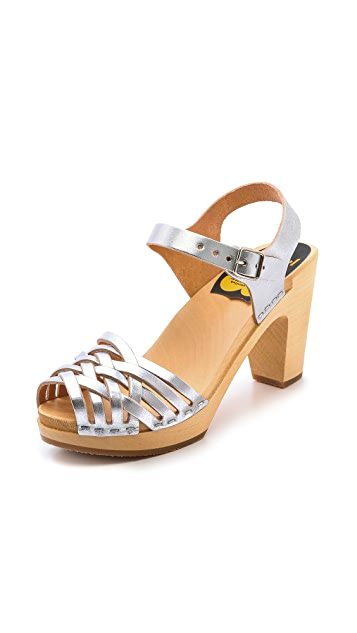 Swedish Hasbeens Braided Sky High Sandals