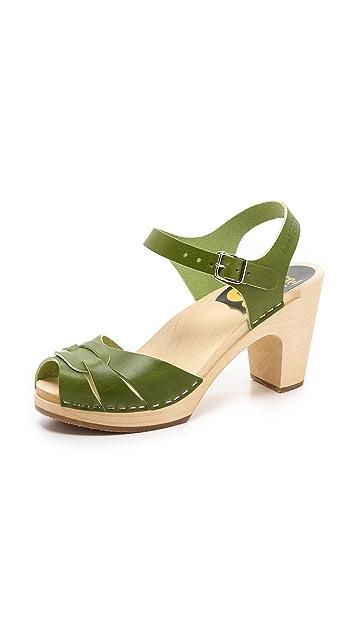 Swedish Hasbeens Peep Toe High Sandals