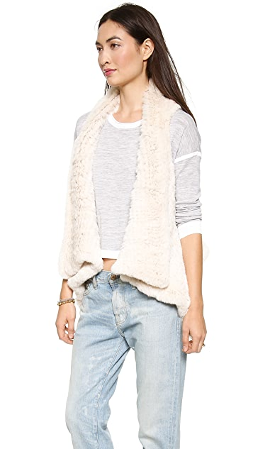 H Brand Indie Hand Knit Rabbit Fur Crop Vest