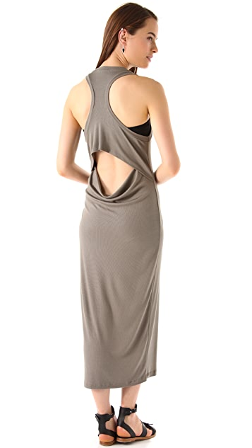 Heather Rib Flutter Back Maxi Dress