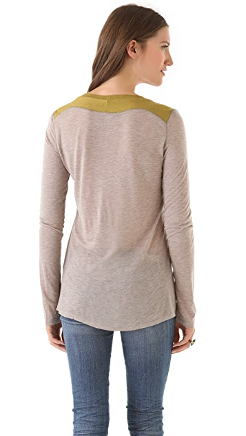 Heather Long Sleeve Colorblock Tee